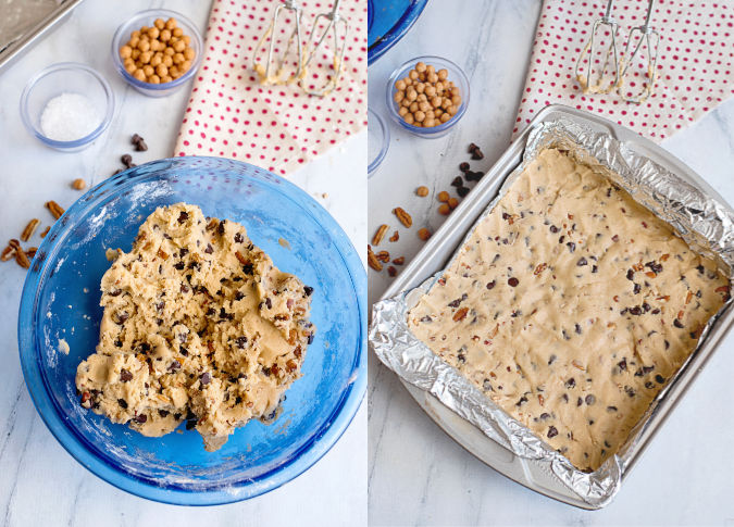 press cookie dough into pan