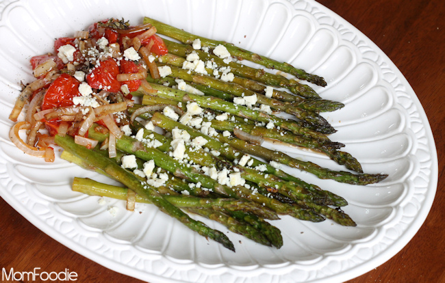 roasted asparagus and tomatoes with blue cheese