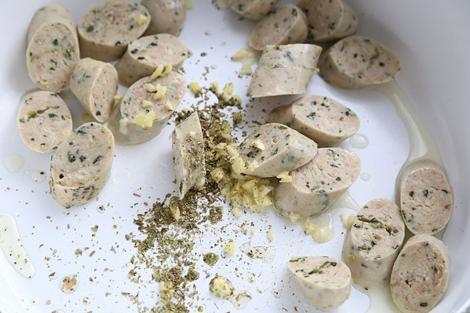 saute sausage garlic and oregano