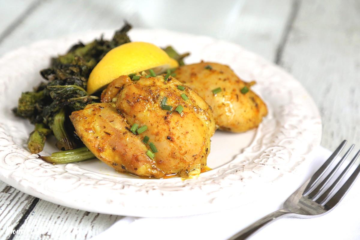 Cast Iron Chicken thighs in turmeric marinate