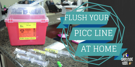 Flush a PICC line with saline and Heparin at home.