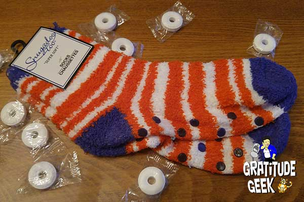 Warm, fuzzy slipper socks are like a hug for the feet of a chemo patient.