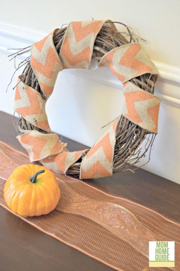 Grapevine wreath wrapped with a chevron burlap wreath