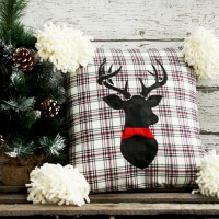 DIY Flannel Deer Christmas Pillow & Creative Corner Link Up Party