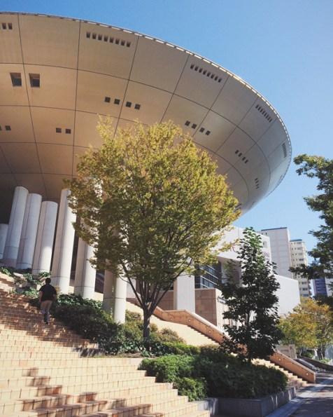 The spaceship exterior of Kobe Fashion Museum