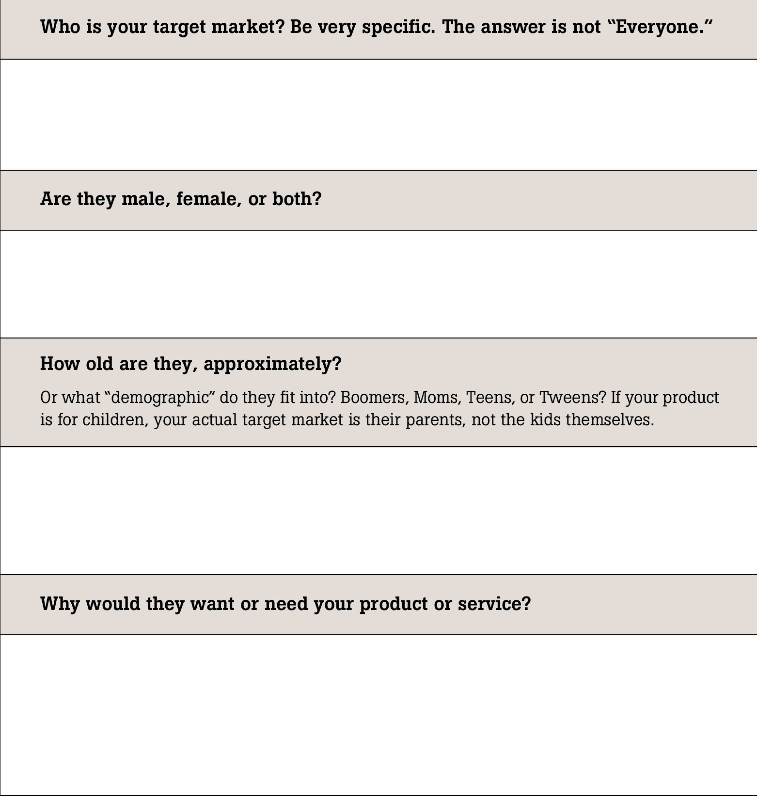 Worksheets No 2 Amp 3 Who Is Your Target Market