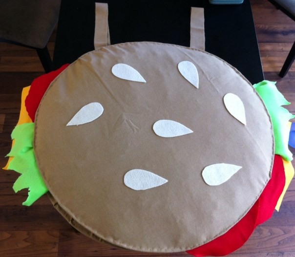 On Halloween, put the brown shirt on and place the hamburger over your head.