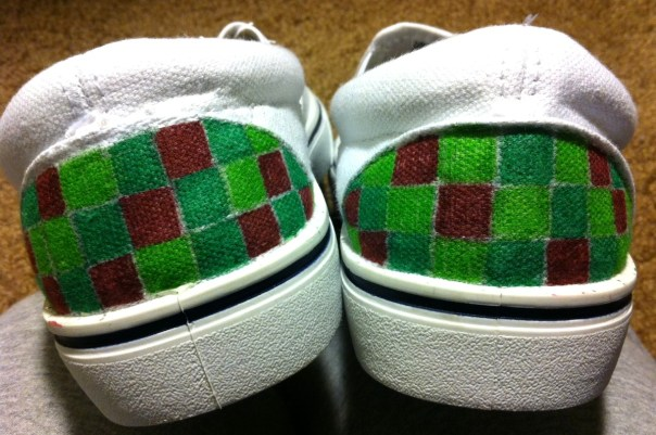 I colored the back of the shoes first. I didn't follow a color pattern  for my squares.