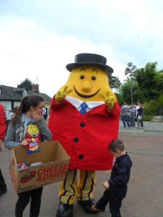 Mr. Tayto, an Irish Icon for the Irish owned Tayto Brand crisps (potato chips). There is a Tayto theme park that is quite popular (http://www.taytocrisps.ie/park/).