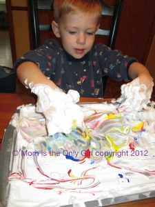 shaving cream play to practice letters and have fun at http://momistheonlygirl.com