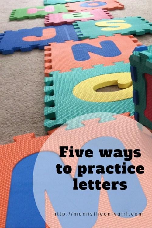 Letter Practice fun five ways at https://momistheonlygirl.com