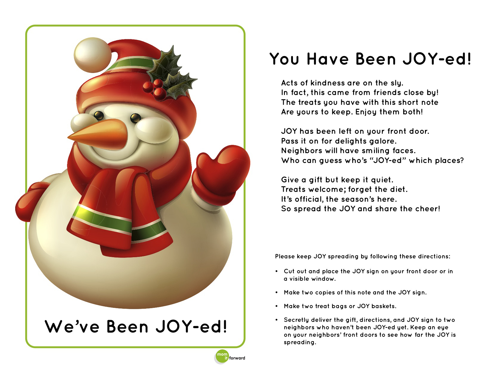 Joy Ed Activity Directions