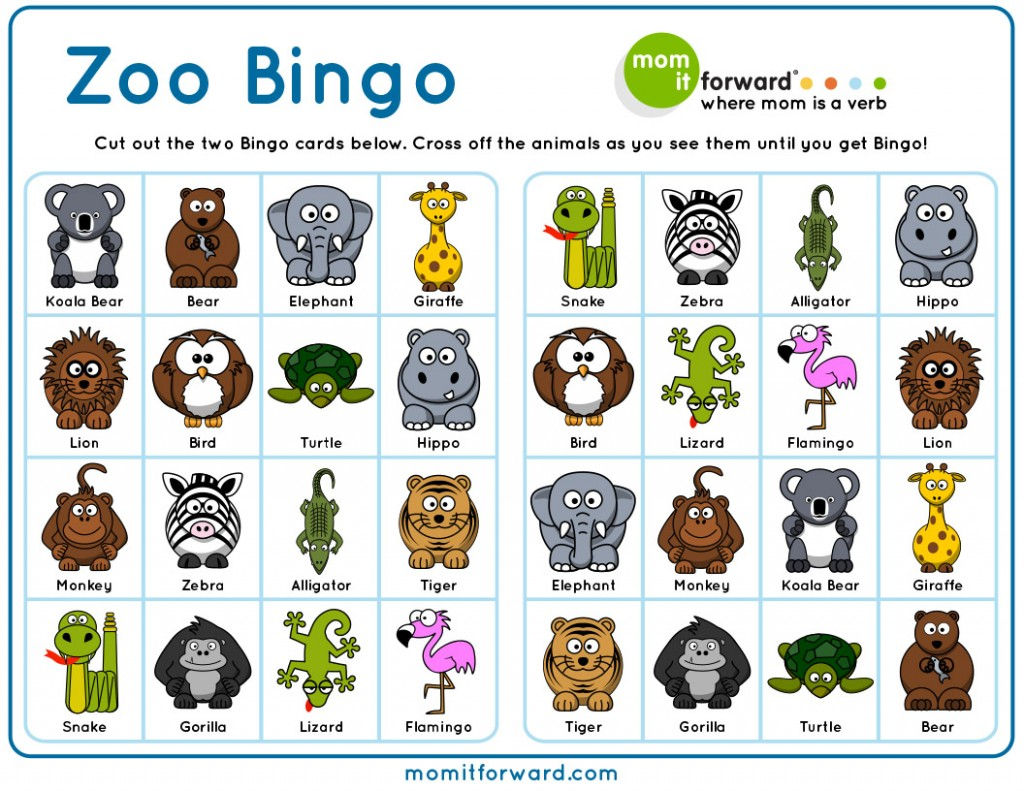 Zoo Bingo Printable