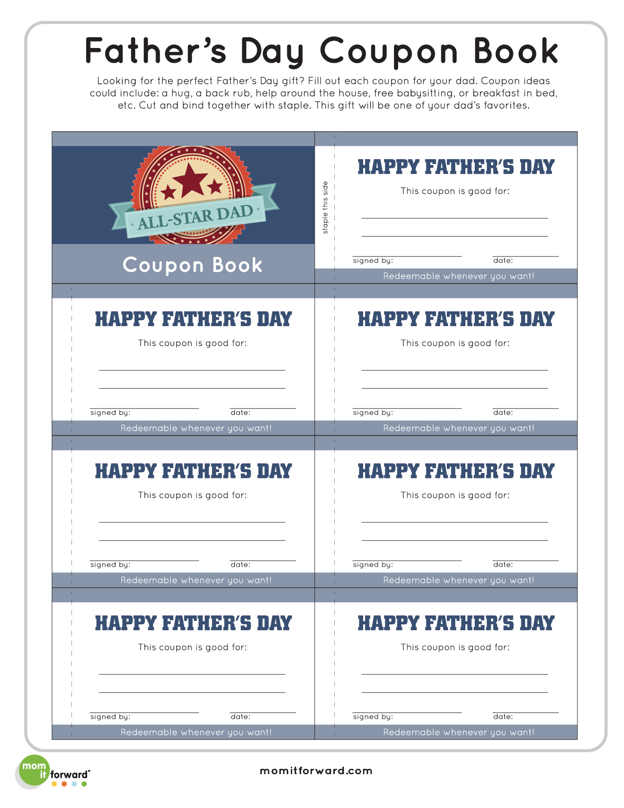 Father S Day Coupon Book Printablemom It Forward