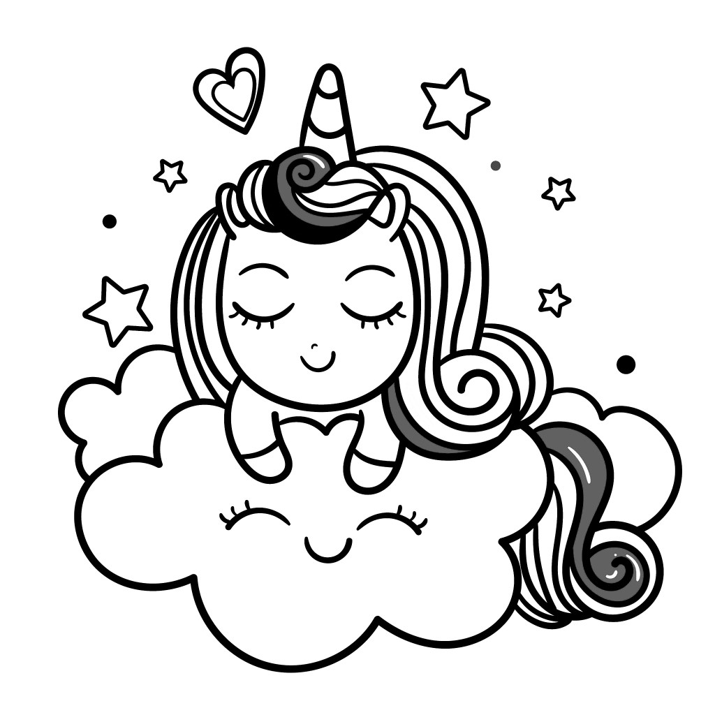 unicorn on a cloud cute smile coloring page