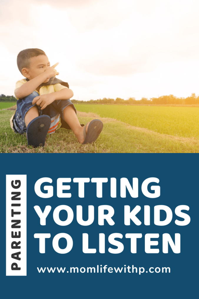 Pinterest pin: Parenting- Getting Your Kids To Listen Without Yelling + boy sitting outside on grass