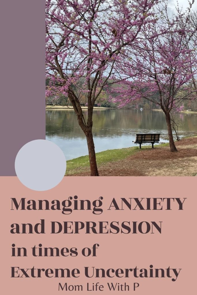 Bench and flowers near lake with text reading managing your anxiety and depression in times of extreme uncertainty