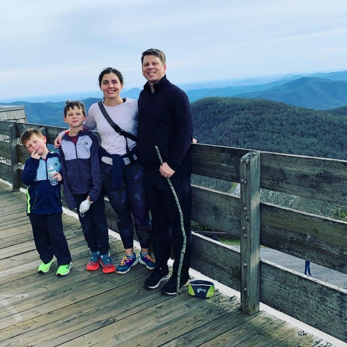 family photo at observation deck on top of Brasstown Bald hiking trail in North Georgia
