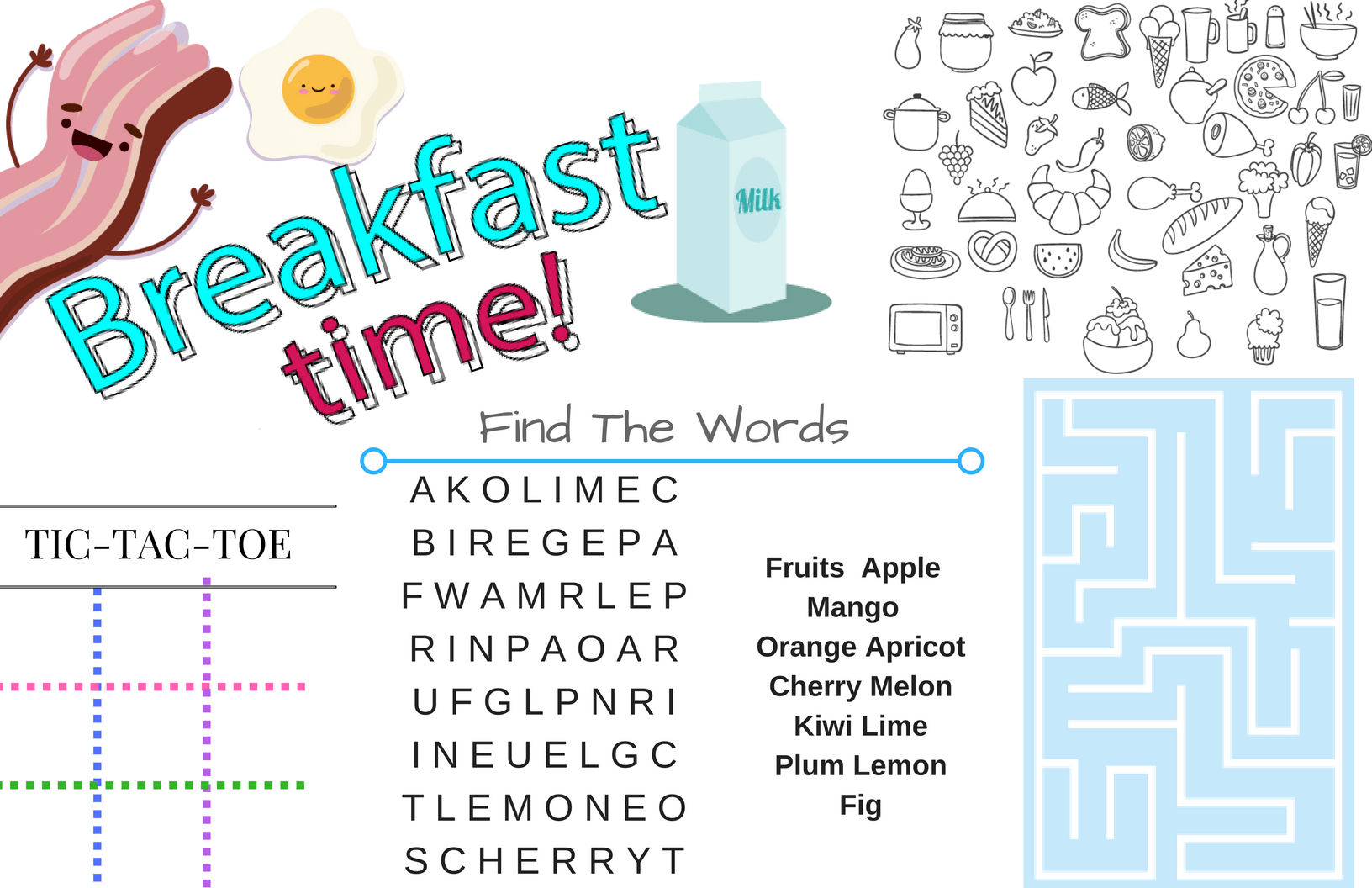 Printable Placemats For Kids Activities For Breakfast