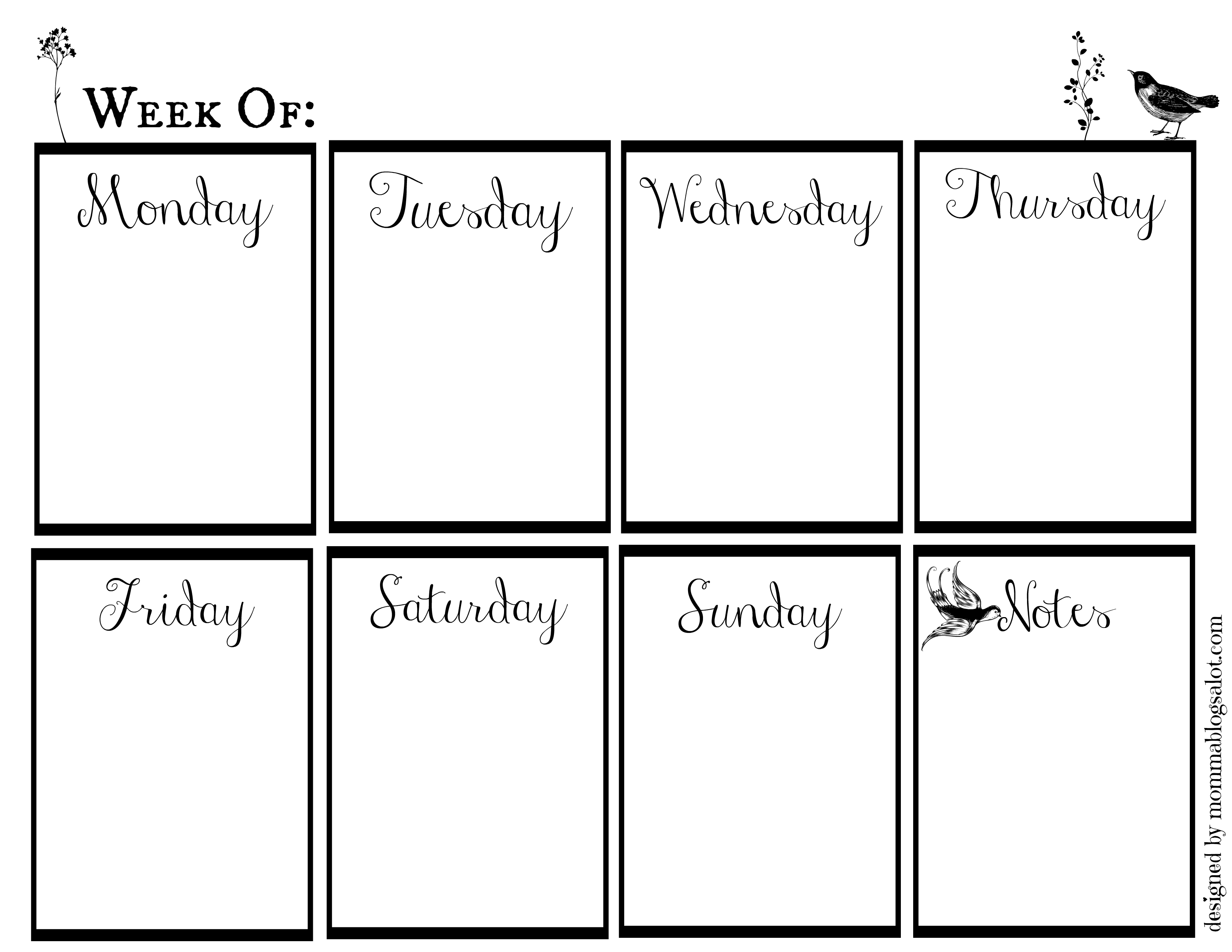 Diy Weekly Dry Erase Calendar Free Printable
