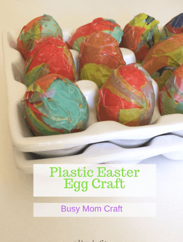 Loving this simple Plastic Easter Egg Craft to do just for me or with my children. This simple paper mache method can be complete in a half hour and you can use them to decorate for Easter. So pretty!