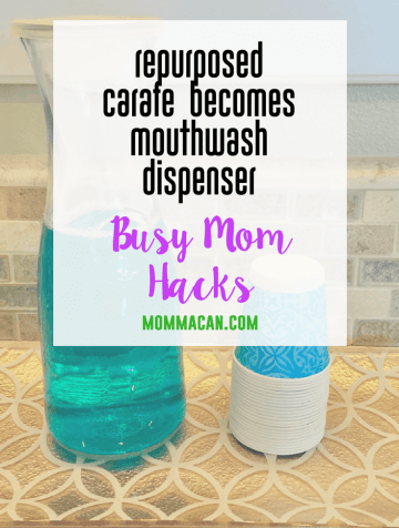 Find out how to repurpose a carafe to use as a mouthwash dispenser. This crazy easy busy mom hack is so simple, but still preetty darn attractive on the bathroom counter.