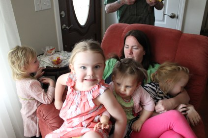Aunty C... or a chair? Pig Pile!