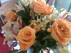flower arrangement roses and irises