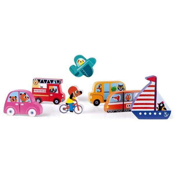 צעצועים פאזל התאמות מעץ כלי תחבורה 7 חלקים - Mom & Me