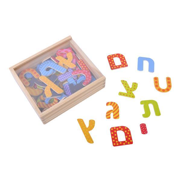 מוצרי עץ קופסת אותיות מגנטיות צבעוניות 54 יח' מעץ - מונטסורי - Mom & Me