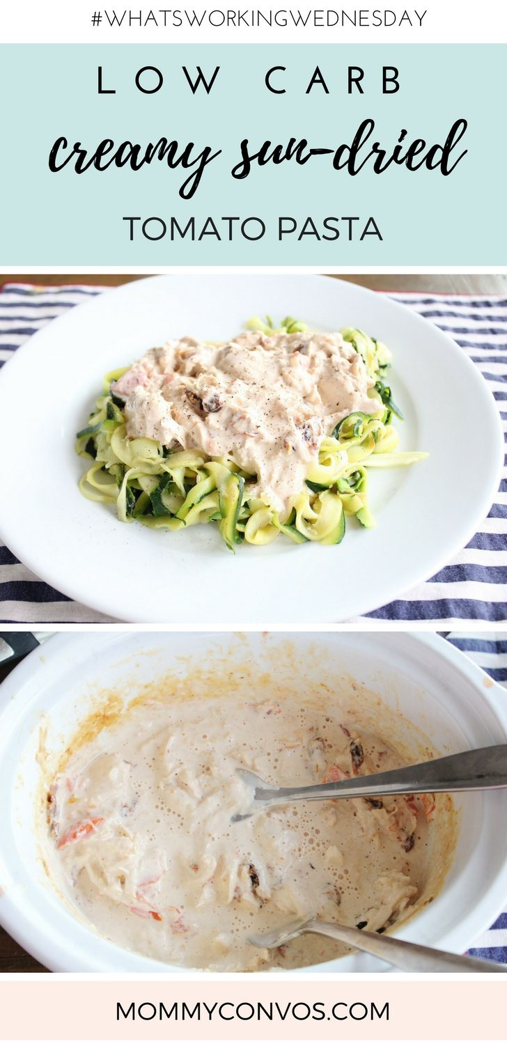 Creamy chicken sundried tomato sauce with zucchini noodles.low carb pasta :creamy chicken sundried tomato sauce with zucchini noodles. Also works great with spaghetti squash. Low carb. Keto friendly. High fat and protein low carb meal. Easy crock pot dish.