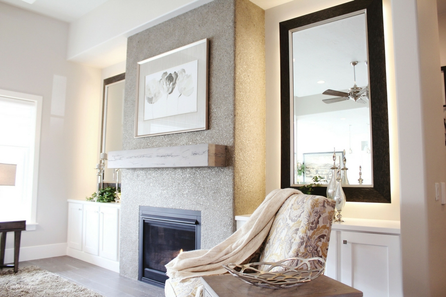 This shimmery fireplace finish was so cool! It was mostly earthy, with just a bit of glam!