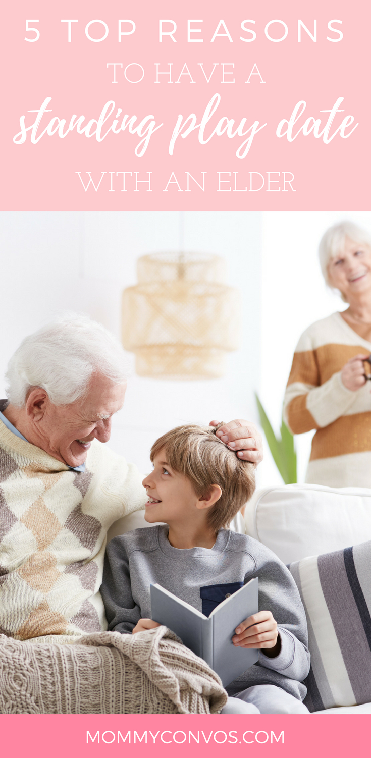 top 5 reasons to have a standing play date with an elder. Visiting grandparents. community involvement. visiting elders. family time. family time with grandparents. senior delight box. senior living.