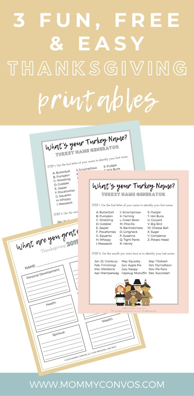 turkey name generator, thanksgiving printables, decorating for the holidays, free and cheap holiday decorations, printables, free stuff, gratitude journal, giving thanks, family relationships