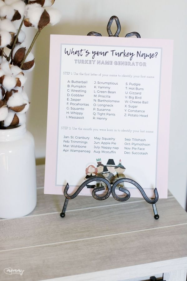 turkey name generator, fun ideas for kids at thanksgiving dinner. thanksgiving party ideas. last minute thanksgiving party printables. free thanksgiving printable. family traditions, fun ideas for thanksgiving, kid-friendly thanksgiving ideas, thanksgiving, thanksgiving dinner, thanksgiving traditions, traditions, turkey name printable