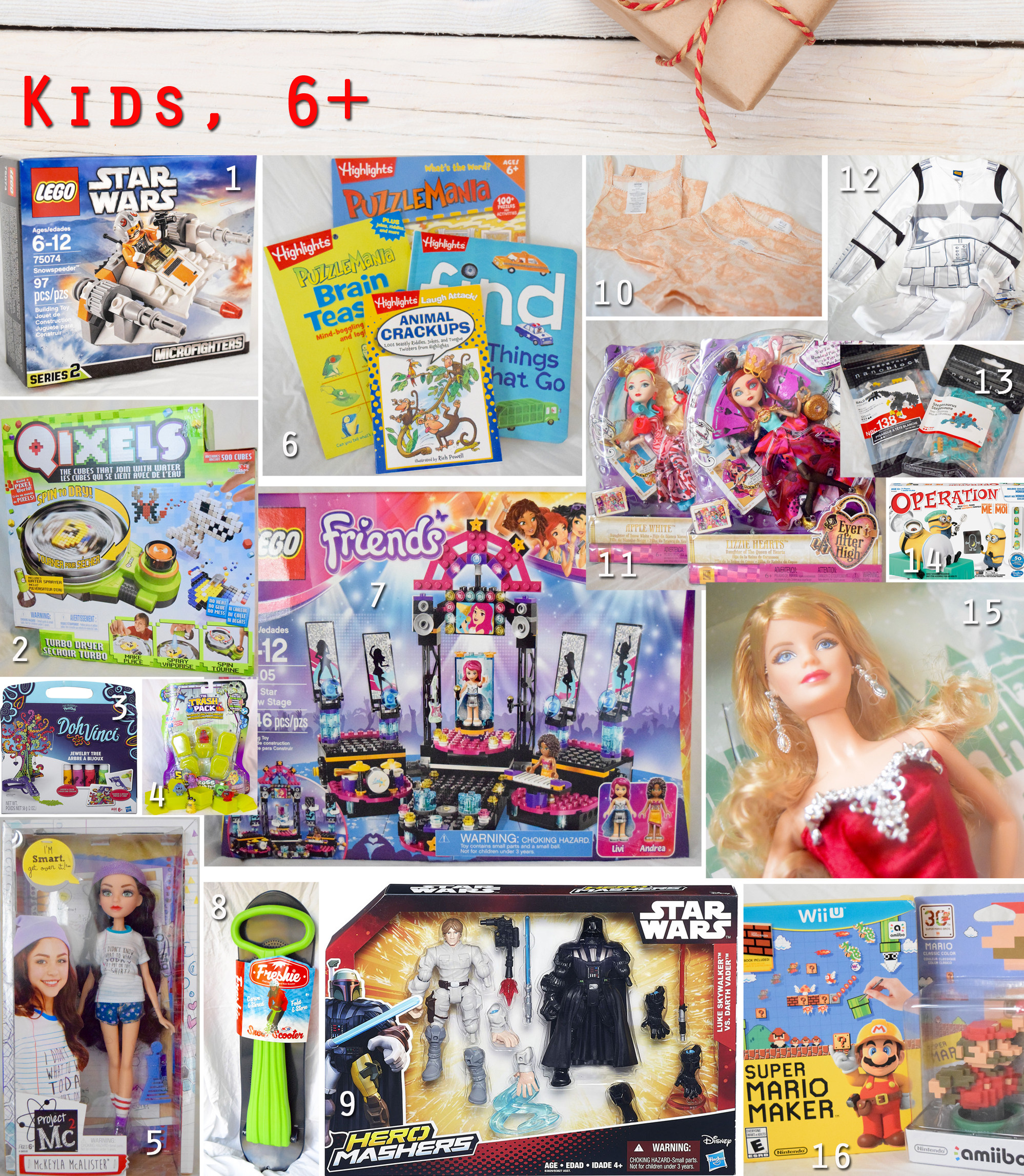 2015 holiday gift guide - kids 6+ gifts collage