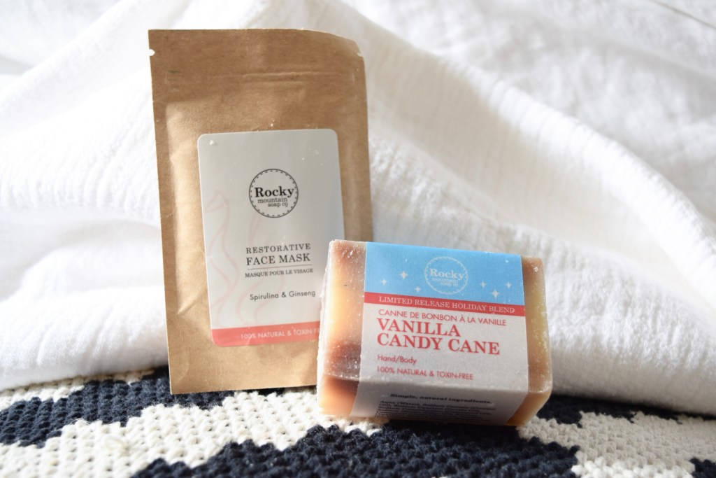 Rocky Mountain Soap Co. candy cane soap and face mask