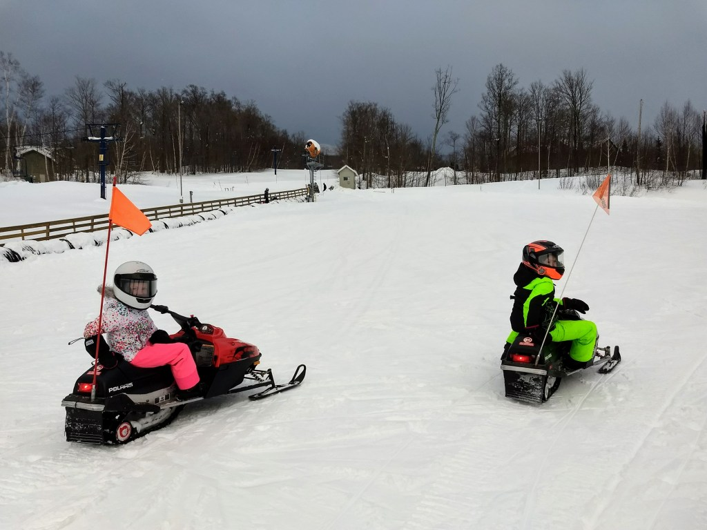 Mini snowmobile rides at Smugglers' Notch Resort