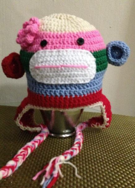 Crochet-Rainbow-Sock-Monkey-with-earflap