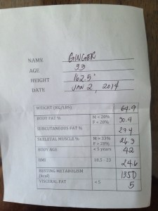 Ginger's Stats Pre-Diet