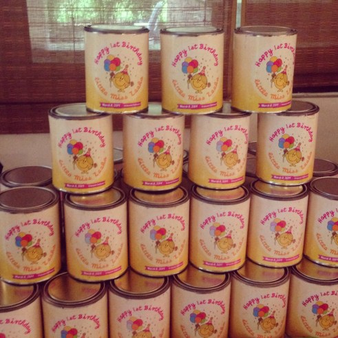 Canned Goods with Little Miss Sunshine Theme