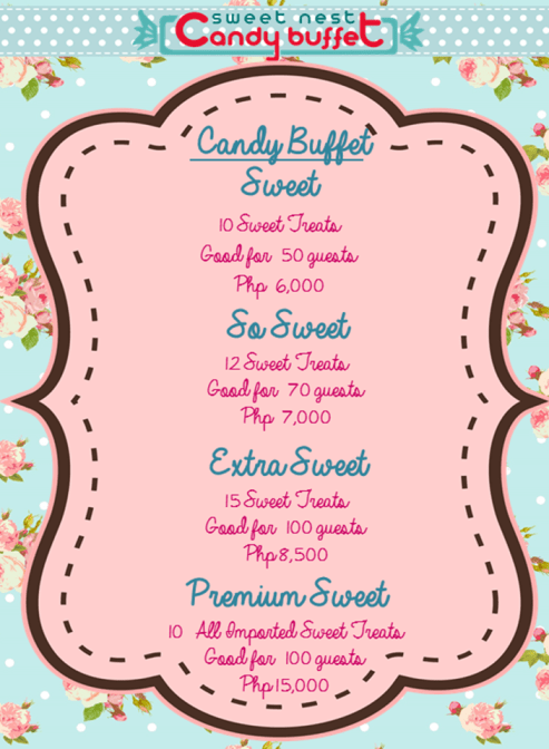 Sweet Nest Candy Buffet - Candy Buffet Packages (as of March 2014)