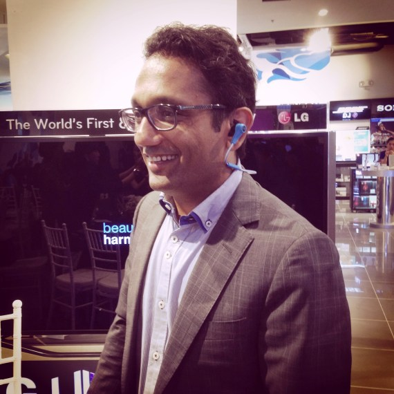 Mohit Parasher, Vice President - Asia Pacific, Harman International demoed using the JBL earphones