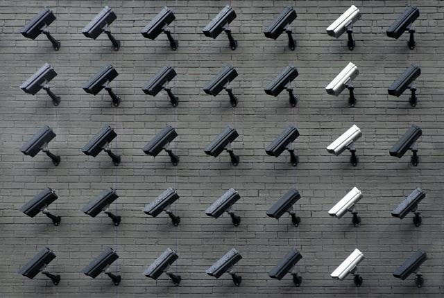 Wall of CCTV cameras