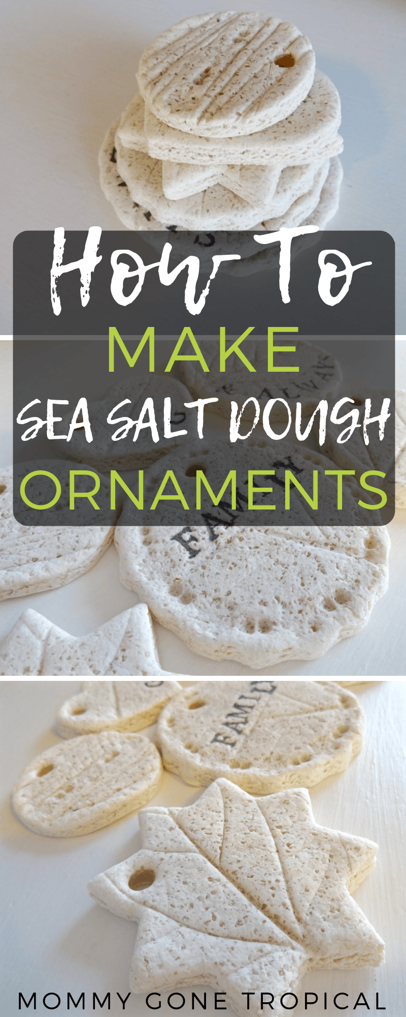 How to make sea salt dough ornaments to hang up on your Christmas tree. #seasaltdough #saltdough #saltdoughornaments | mommygonetropical.com
