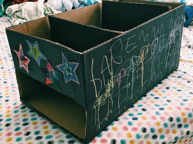 DIY Convert a diaper box into a storage bin to use in your car for an upcoming family road trip. #diaperbox #diy #storagebin | mommygonetropical.com