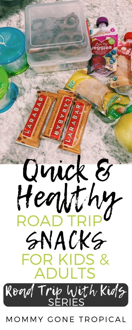 Need some quick and healthy road trip snacks ideas? Know how to pack the snacks in the car for a road trip? Find out what I brought and how I stored mine! #roadtripsnacks #roadtripwithkids | mommygonetropical.com
