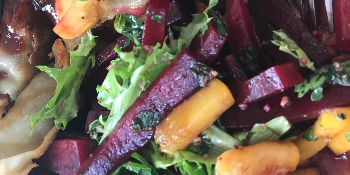 Beet and peach salad with cilantro lime dressing