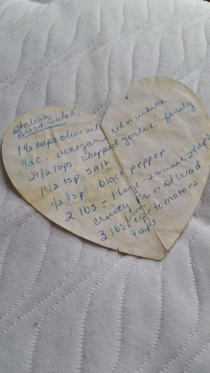 My mom's handwritten Italian Bread Salad recipe