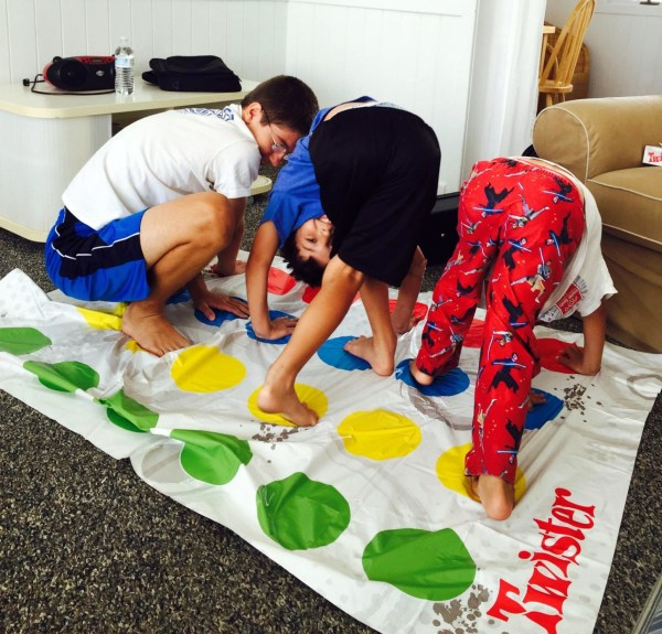 The kids playing Twister.